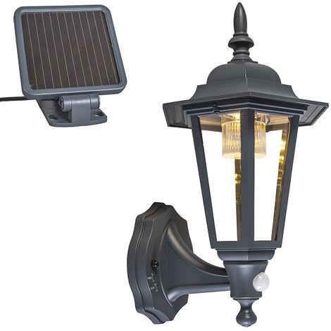 QAZQA Clásico/Antiguo Farol de pared exterior antracita con LED y solar - Nueva York Plástico /Metálica Otros Incluye LED Max. 4 x 2 Watt