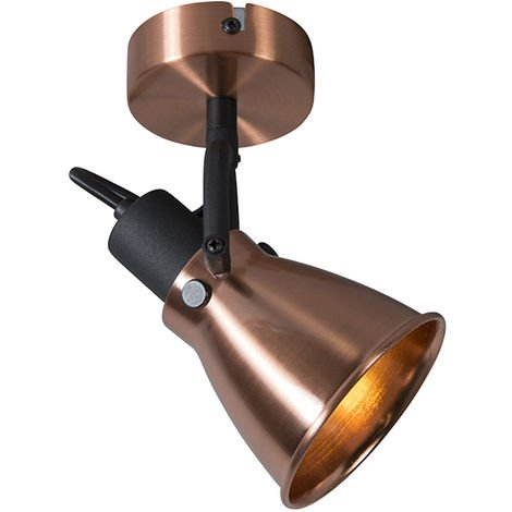 QAZQA Clásico/Antiguo Foco clásico cobre - JOS 1 Metálica Redonda Adecuado para LED Max. 1 x 40 Watt