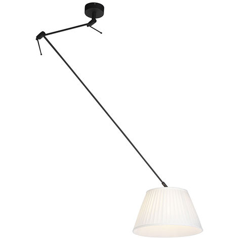 QAZQA Clásico/Antiguo Lámpara colgante con pantalla plisada 35cm crema - Blitz I negro Textil /Acero Cilíndra /Alargada /Redonda Adecuado para LED Max. 1 x 60 Watt