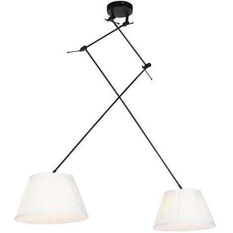 QAZQA Clásico/Antiguo Lámpara colgante con pantallas plisadas crema 35 cm - Blitz II negro Textil /Acero Cilíndra /Alargada /Redonda Adecuado para LED Max. 2 x 60 Watt