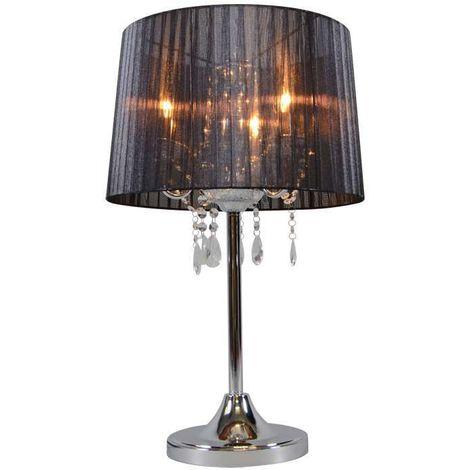 QAZQA Clásico/Antiguo Lámpara de mesa clásica cromada con pantalla negra - Ann-Kathrin 3 Vidrio /Metálica /Textil Redonda Adecuado para LED Max. 3 x 60 Watt