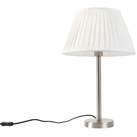 """main image of """"QAZQA Clásico/Antiguo Lámpara de mesa moderna acero pantalla plisada blanca 35cm - SIMPLO Textil /Acero Redonda /Redonda / Cónica Adecuado para LED Max. 1 x 60 Watt"""""""