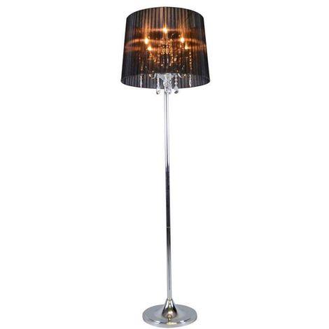QAZQA Clásico/Antiguo Lámpara de pie clásica cromada con pantalla negra - Ann-Kathrin 5 Vidrio /Metálica /Textil Redonda /Alargada Adecuado para LED Max. 5 x 40 Watt