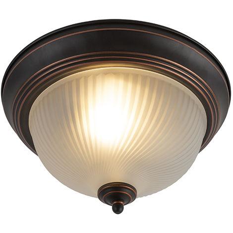 QAZQA Clásico/Antiguo Plafón clásico marrón vidrio translúcido - CLASSICO /Metálica Redonda /Esfera Adecuado para LED Max. 1 x 60 Watt
