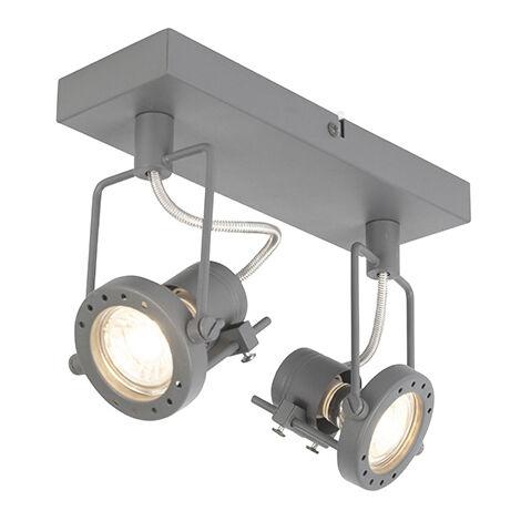 QAZQA Clásico/Antiguo Plafón industrial antracita giratorio 2-luces - SUPLUX Acero Redonda /Rectangular Adecuado para LED Max. 2 x 50 Watt