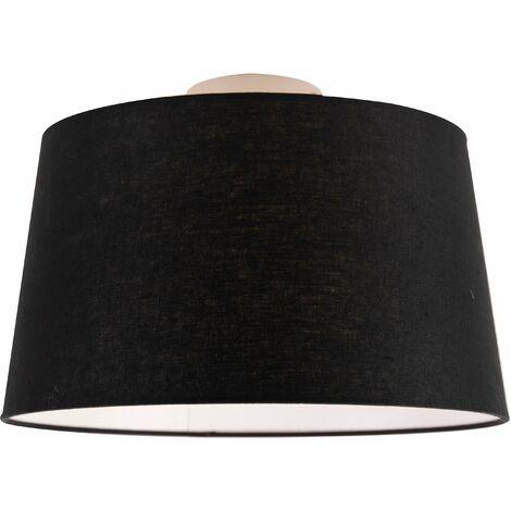 QAZQA Clásico/Antiguo Plafón moderno blanco con pantalla negra 35 cm - Combi Textil /Acero Redonda Adecuado para LED Max. 1 x Watt