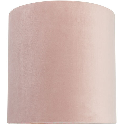 QAZQA Classico Cotone Paralume in velluto rosa 25/25/25 con interno dorato , Rotondo / Cilindro Paralume per lampade a sospensione,Paralume per lampade a terra - 97523