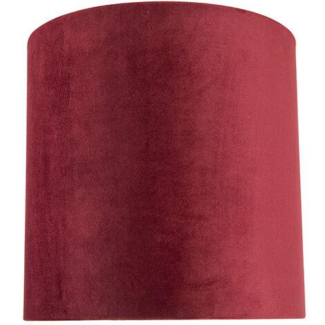 QAZQA Classico Cotone Paralume in velluto rosso 25/25/25 con interno dorato , Rotondo / Cilindro Paralume per lampade a sospensione,Paralume per lampade a terra - 97518