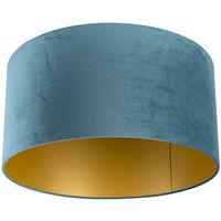 QAZQA Classico Cotone Paralume velluto 50/50/25 blu dorato , Rotondo / Cilindro Paralume per lampade a sospensione,Paralume per lampade a terra