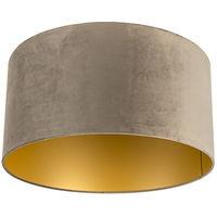 QAZQA Classico Cotone Paralume velluto 50/50/25 taupe dorato , Rotondo / Cilindro Paralume per lampade a sospensione,Paralume per lampade a terra