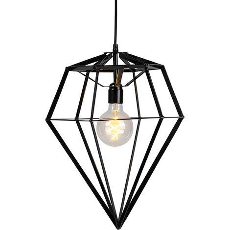 qazqa design industriele hanglamp zwart - frame diamond large métal