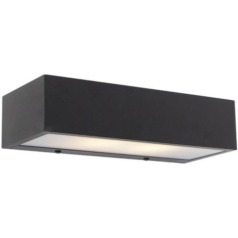 QAZQA Diseño Aplique diseño alargado negro 25cm - HOUX Aluminio Alargada /Rectangular Adecuado para LED Max. 2 x 5 Watt