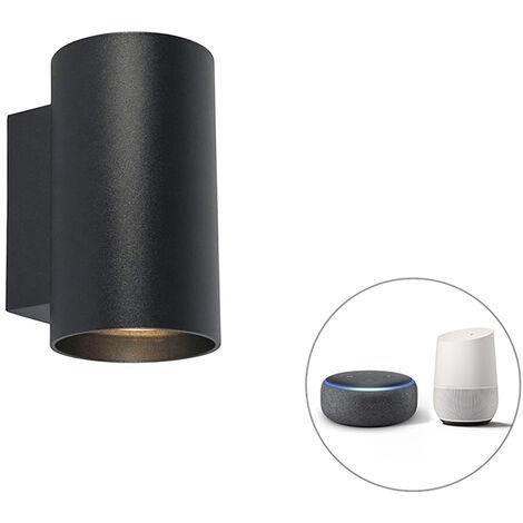 QAZQA + Diseño Aplique diseño negro bombilla-WiFi GU10 - SANDY Acero Cilíndra Adecuado para LED Max. 2 x 5 Watt