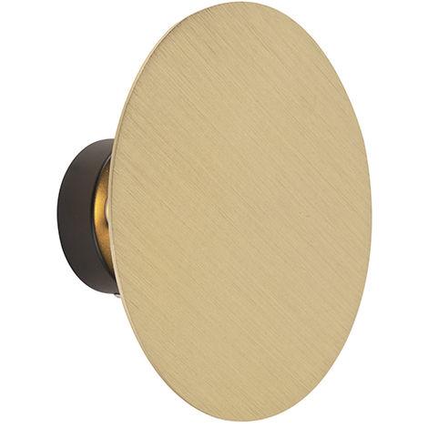 QAZQA Diseño Aplique diseño redondo dorado - PULLEY Acero Redonda Adecuado para LED Max. 2 x 40 Watt