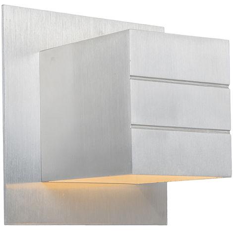 QAZQA Diseño Aplique moderno aluminio - YPSILON Cubo /Cuadrada Adecuado para LED Max. 1 x 40 Watt