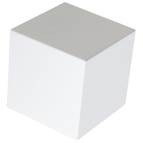 QAZQA Diseño Aplique moderno blanco - CUBE Aluminio Cubo Adecuado para LED Max. 1 x 40 Watt