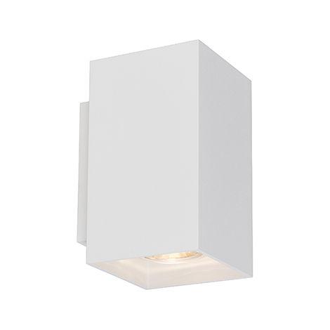 "main image of ""QAZQA + Diseño Aplique moderno cuadrado blanco- SANDY Acero Rectangular Adecuado para LED Max. 2 x 50 Watt"""