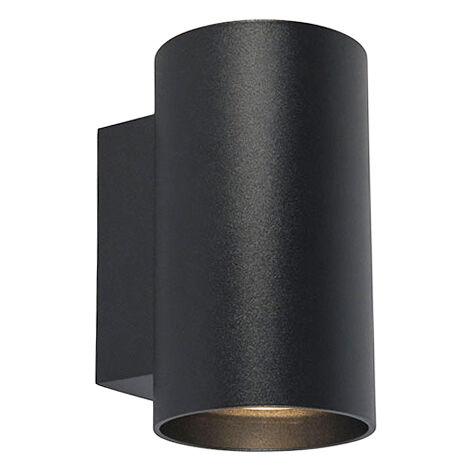QAZQA Diseño Aplique moderno redondo negro - SANDY Acero Cilíndra Adecuado para LED Max. 2 x 50 Watt