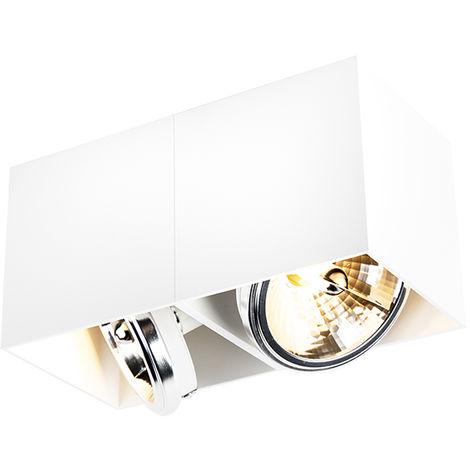 QAZQA Diseño Foco diseño cuadrado blanco 2-luces - BOX Aluminio Rectangular Adecuado para LED Max. 2 x 3 Watt