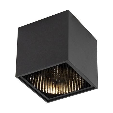 QAZQA Diseño Foco diseño negro - BOX Honey Aluminio Cubo Adecuado para LED Max. 1 x 50 Watt