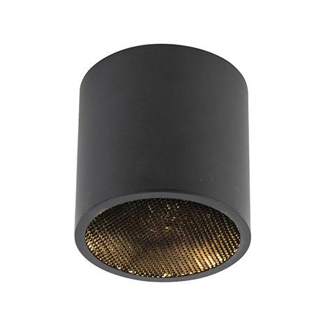 QAZQA Diseño Foco diseño negro - IMPACT Honey Aluminio Cilíndra Adecuado para LED Max. 1 x 50 Watt