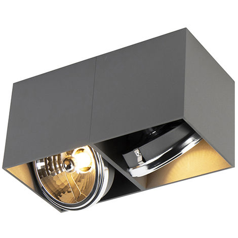 QAZQA Diseño Foco diseño rectangular gris 2-luces - BOX Aluminio Rectangular Adecuado para LED Max. 2 x 3 Watt