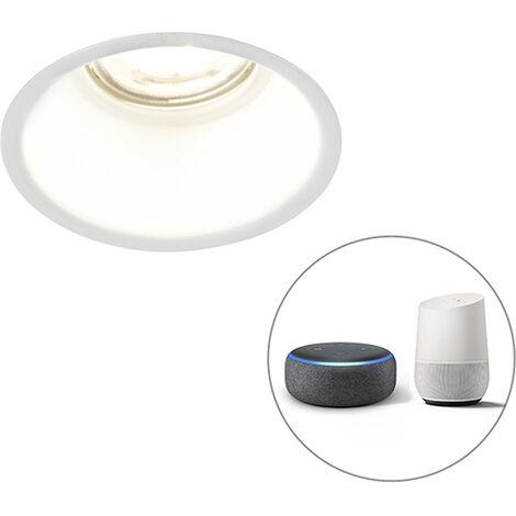 QAZQA + Diseño Foco empotrable blanco 1-bombilla-WiFi-GU10 - DEPT Aluminio Redonda Adecuado para LED Max. 1 x 5 Watt