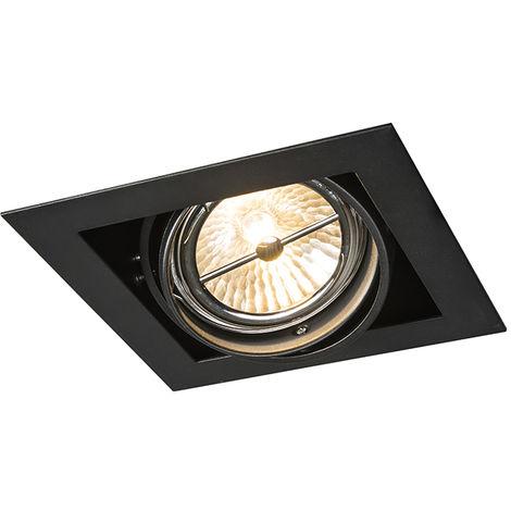 QAZQA Diseño Foco empotrable cuadrado negro ajustable 1 luz - Oneon 111-1 Acero Cuadrada Adecuado para LED Max. 1 x 50 Watt