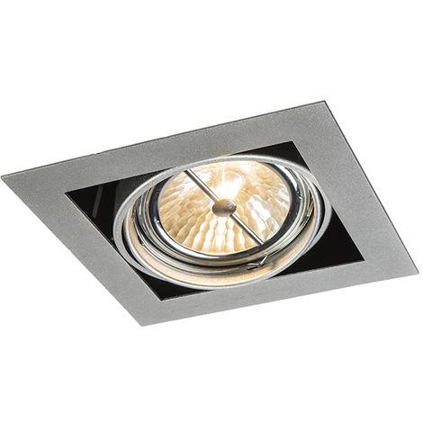 QAZQA Diseño Foco empotrable de aluminio cuadrado ajustable 1 luz - Oneon 111-1 Acero Cuadrada Adecuado para LED Max. 1 x 50 Watt