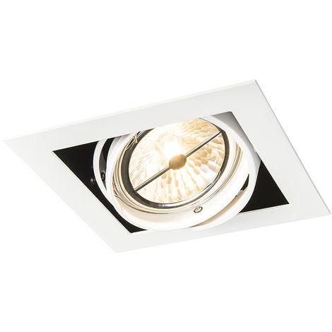 QAZQA + Diseño Foco empotrado cuadrado blanco orientable 1-luz - ONEON 111-1 Acero Cuadrada Adecuado para LED Max. 1 x 50 Watt