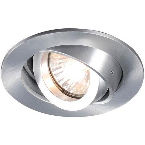 QAZQA Diseño Foco empotrado moderno orientable - CLUB Aluminio Redonda Adecuado para LED Max. 1 x 50 Watt