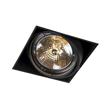 QAZQA Diseño Foco empotrado negro AR111 - ONEON 111-3 trimless Acero Rectangular Adecuado para LED Max. 3 x 50 Watt
