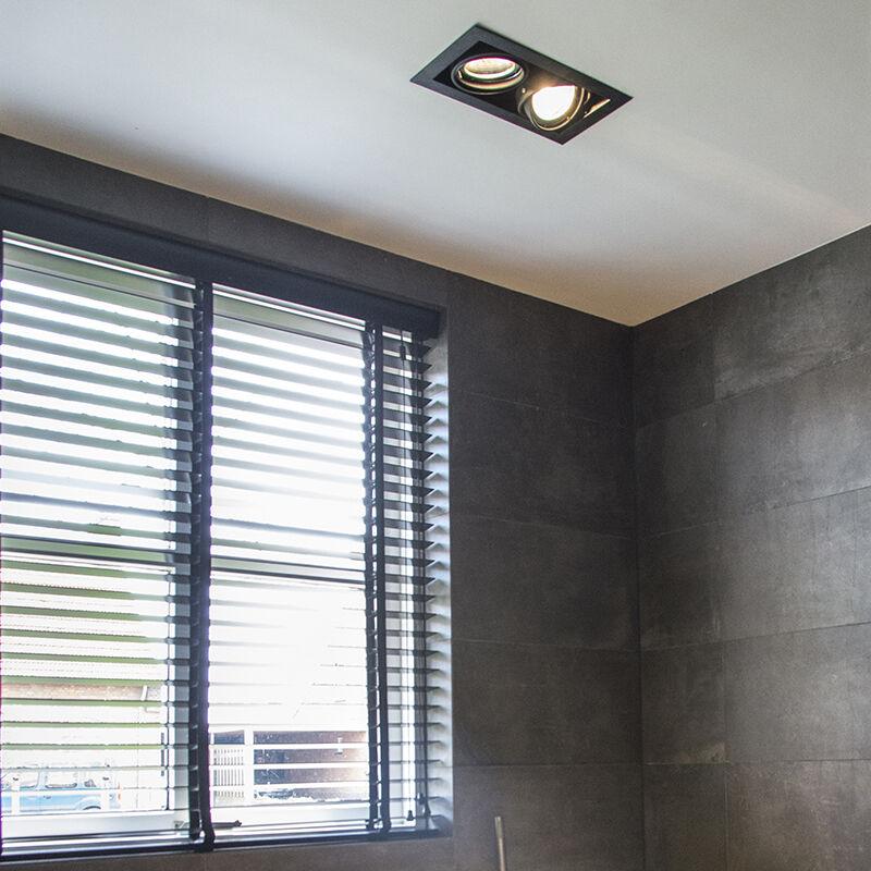 QAZQA Diseño Foco empotrado negro orientable 2 luces ONEON 111 2 Acero Rectangular Adecuado para LED Max. 2 x 50 Watt