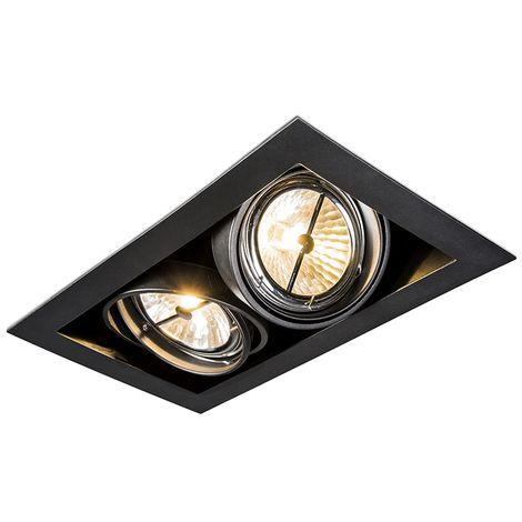 QAZQA Diseño Foco empotrado negro orientable 2-luces - ONEON 111-2 Acero Rectangular Adecuado para LED Max. 2 x 50 Watt