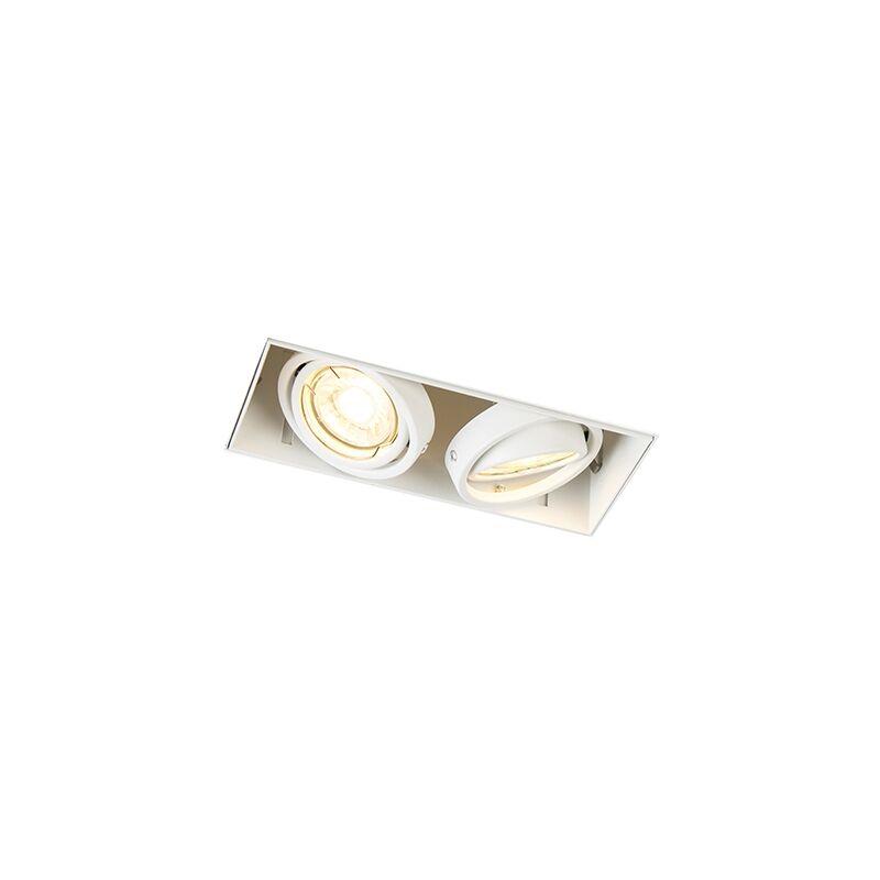 + Moderno Foco empotrado blanco orientable sin molduras 2-luces - ONEON 2 Trimless Acero Rectangular Adecuado para LED Max. 2 x 50 Watt - Qazqa