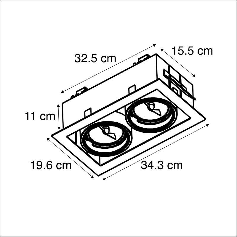 QAZQA Diseño Foco empotrado rectangular aluminio ONEON 111 2 Acero Rectangular Adecuado para LED Max. 2 x 50 Watt