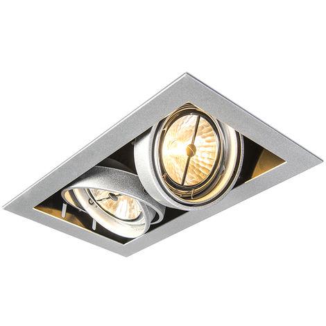 QAZQA Diseño Foco empotrado rectangular aluminio - ONEON 111-2 Acero Rectangular Adecuado para LED Max. 2 x 50 Watt