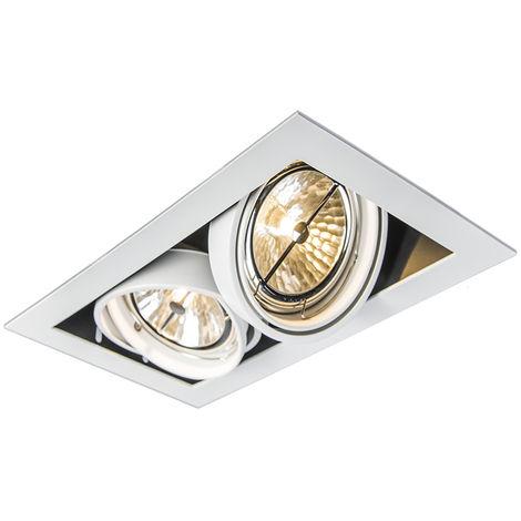 QAZQA Diseño Foco empotrado rectangular blanco - ONEON 111-2 Acero Rectangular Adecuado para LED Max. 2 x 50 Watt