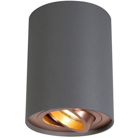 QAZQA + Diseño Foco gris cobre giratorio e inclinable - RONDOO 1 UP Acero Cilíndra Adecuado para LED Max. 1 x 50 Watt