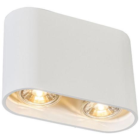 QAZQA Diseño Foco moderno blanco - RONDA Duo Metálica Ovalada Adecuado para LED Max. 2 x 50 Watt