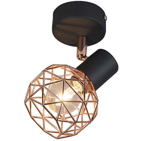 QAZQA Diseño Foco moderno negro/cobre - MESH Metálica Redonda /Esfera Adecuado para LED Max. 1 x 40 Watt