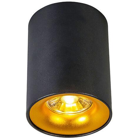 QAZQA Diseño Foco moderno negro/oro - RONDA Acero Cilíndra Adecuado para LED Max. 1 x 50 Watt
