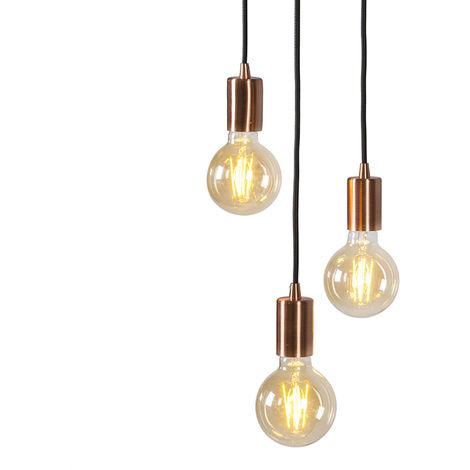 QAZQA Diseño Lámpara colgante art deco cobre - FACIL 3 Metálica Cilíndra Adecuado para LED Max. 3 x 60 Watt