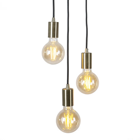 QAZQA Diseño Lámpara colgante art deco dorada - FACIL 3 Acero Cilíndra Adecuado para LED Max. 3 x 60 Watt