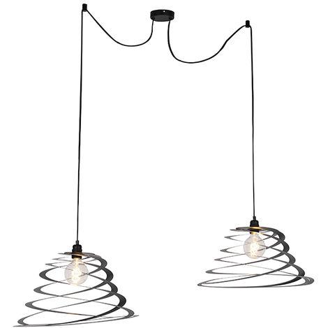 QAZQA Diseño Lámpara colgante de diseño 2 luces con pantalla espiral 20 cm - Scroll Acero Redonda Adecuado para LED Max. 2 x 60 Watt