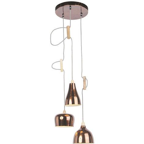 QAZQA Diseño Lámpara colgante de diseño cobre 3 luces ajustable - Vidya Madera /Metálica Otros Adecuado para LED Max. 3 x 40 Watt