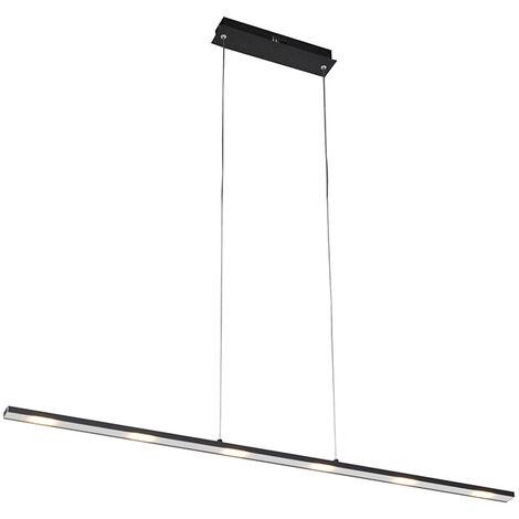 QAZQA Diseño Lámpara colgante de diseño negra con LED con regulador de intensidad táctil - Platino Acero Alargada Incluye LED Max. 1 x 24 Watt