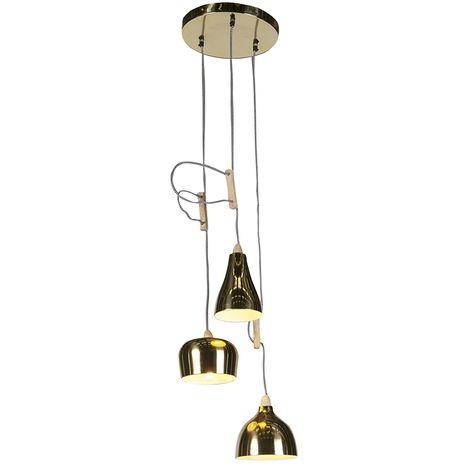QAZQA Diseño Lámpara colgante de diseño oro / latón ajustable con 3 luces - Vidya Madera /Metálica Redonda Adecuado para LED Max. 3 x 40 Watt