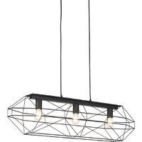 QAZQA Diseño Lámpara colgante diseño negra metal 3 luces - FRAME Acero Otros Adecuado para LED Max. 3 x Watt