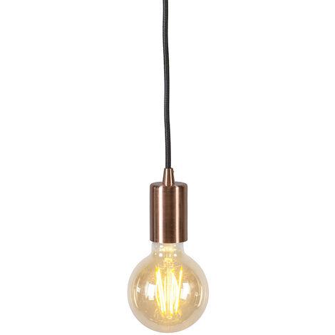 QAZQA Diseño Lámpara colgante industrial cobre - FACIL 1 Metálica Cilíndra Adecuado para LED Max. 1 x 60 Watt